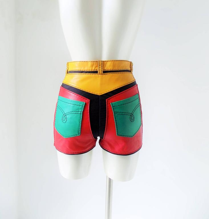 1993s Moschino Leather colour block Leather shorts 4