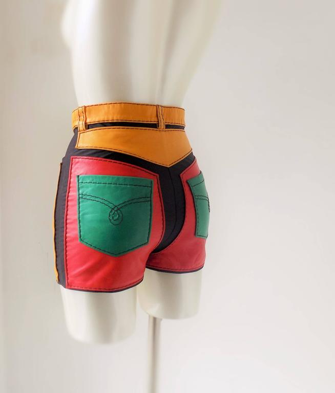 1993s Moschino Leather colour block Leather shorts 5