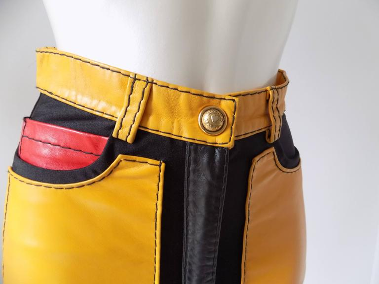 1993s Moschino Leather colour block Leather shorts 6