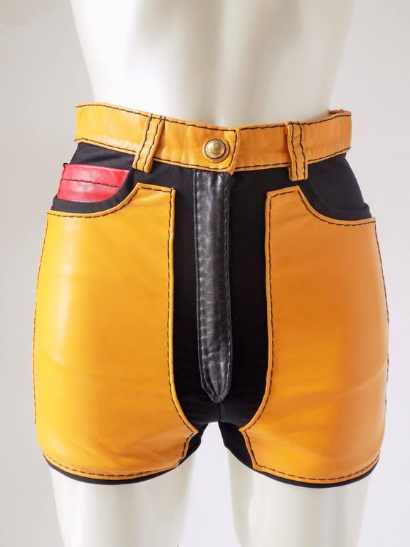 1993s Moschino Leather colour block Leather shorts 8