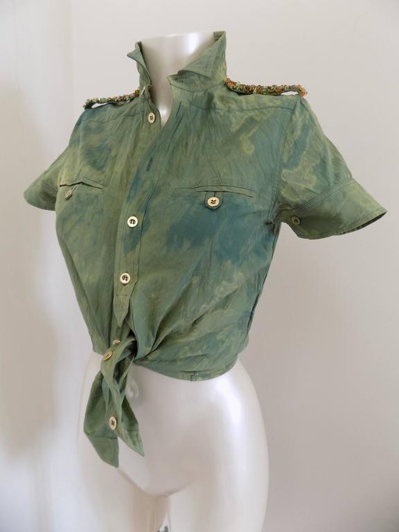 1990s Balenciaga Green shirt with swarovski and gold buttons