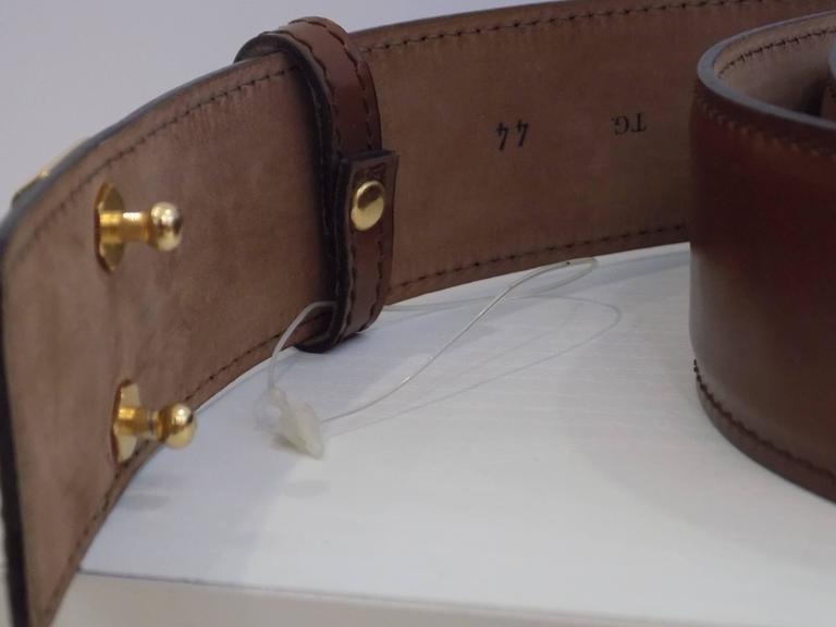 """1990s Moschino """"28k"""" Brown Belt In New Never_worn Condition For Sale In Capri, IT"""