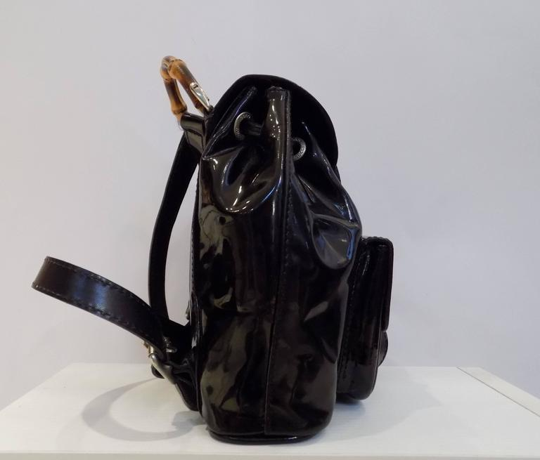 Gucci Bamboo Black Varnish Leather Small Backpack In Excellent Condition For Sale In Capri, IT