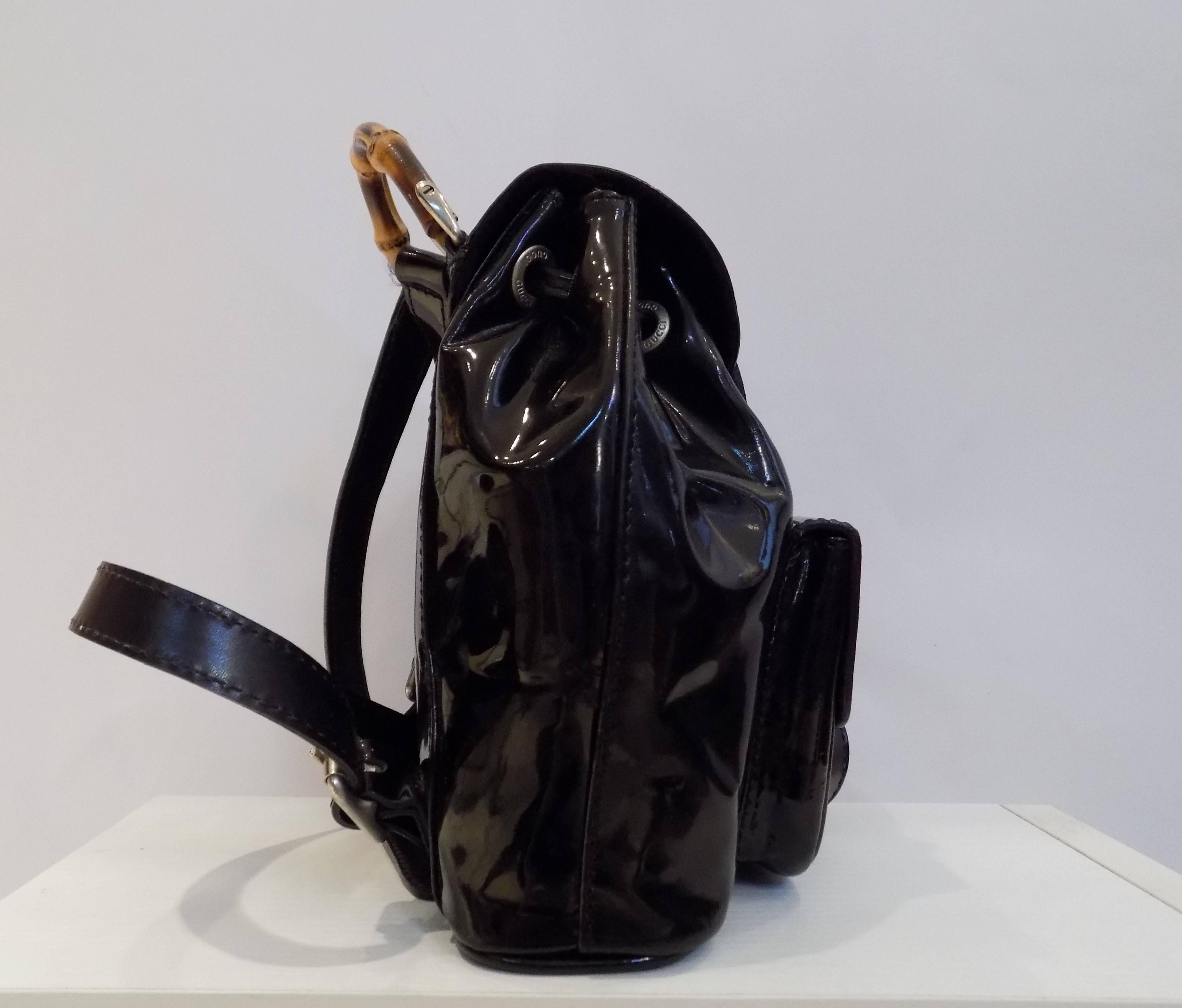 a1286eb5f6d Gucci Bamboo Black Varnish Leather Small Backpack at 1stdibs