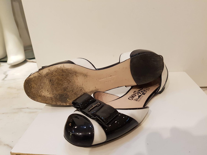 salvatore ferragamo white and black sandals at 1stdibs