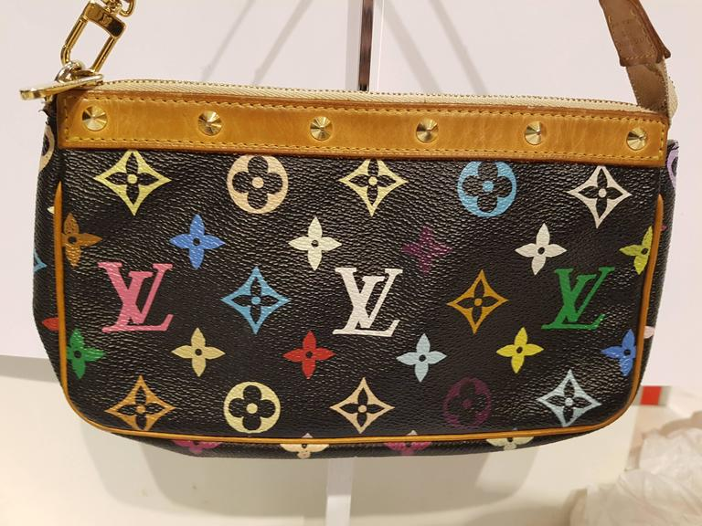 a68c047eed2f Louis Vuitton Black Multicolore Canvas Takashi Murakami Pochette  Accessoires Condition - Gently used Length - 21.8