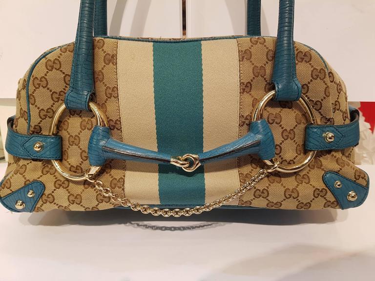 Gucci Horsebit Monogram Turquoise Bag At 1stdibs