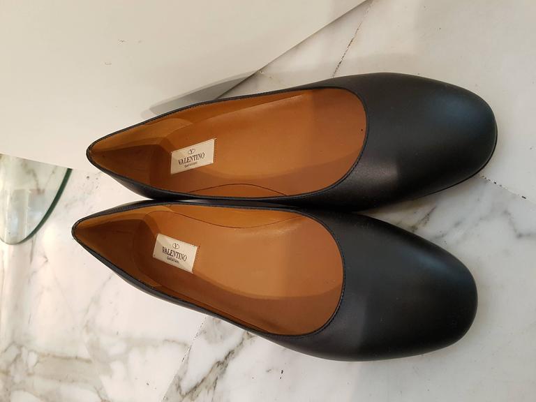 Valentino Black leather Ballerina NWT 3