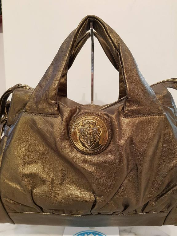 Gucci Bronze Shoulder Bag with gold tone LOGO