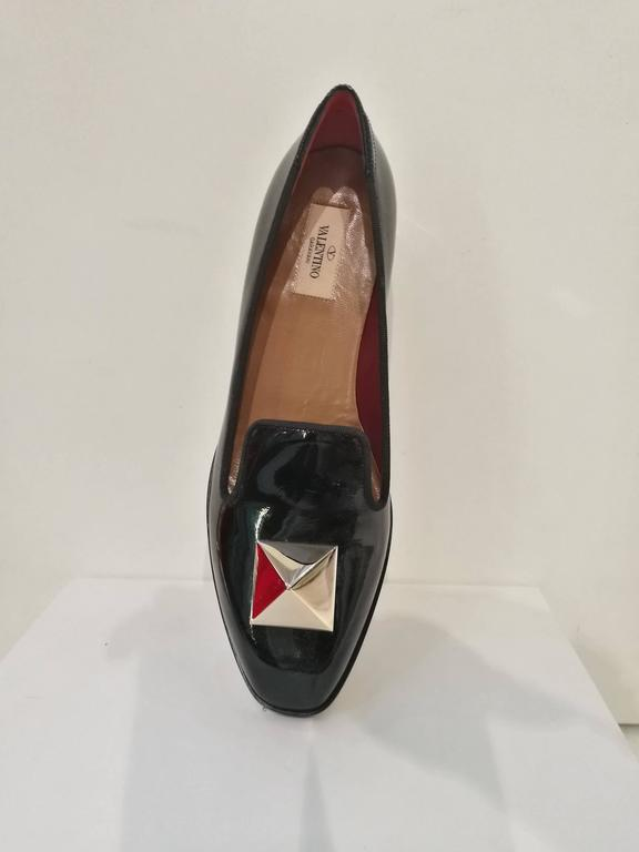 Valentino Black Leather Gold Studs Loafer 3