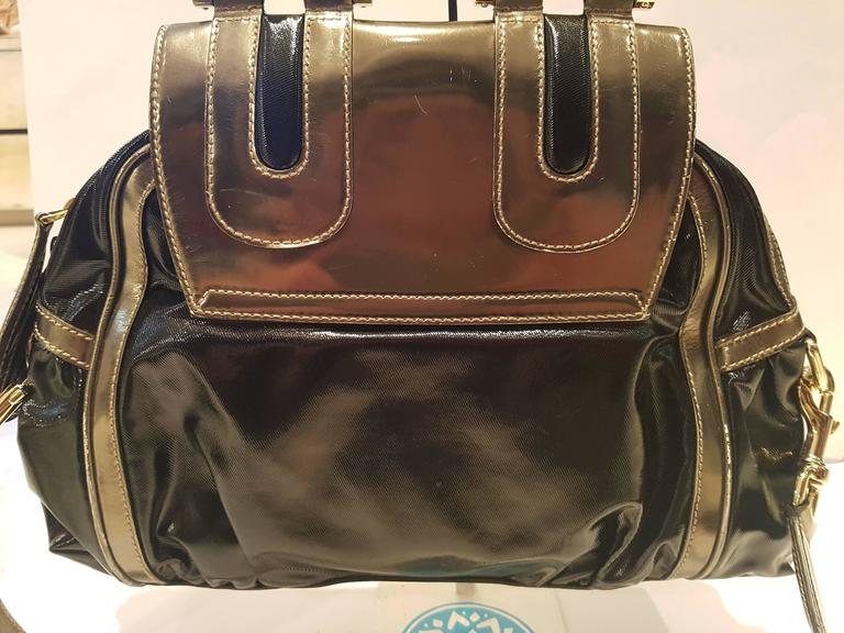 1990s Gucci Bamboo black metallic silver bag 4