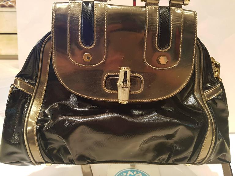 1990s Gucci Bamboo black metallic silver bag 5