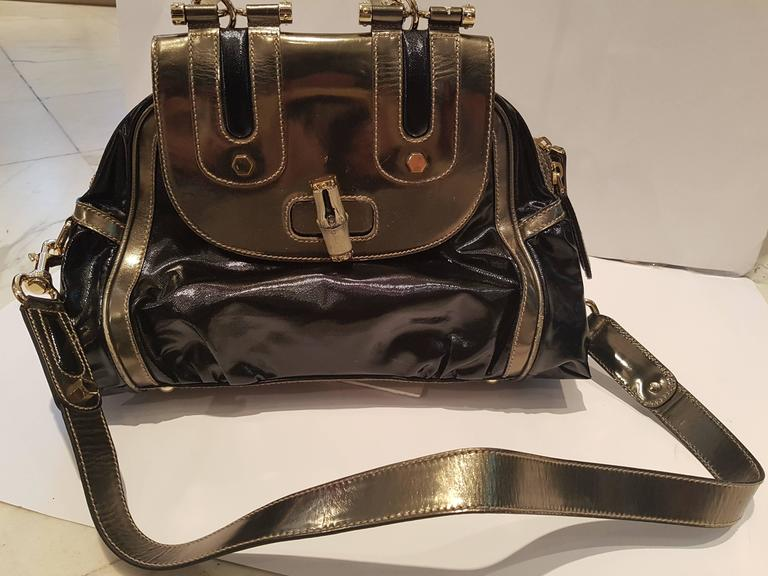 1990s Gucci Bamboo black metallic silver bag 6