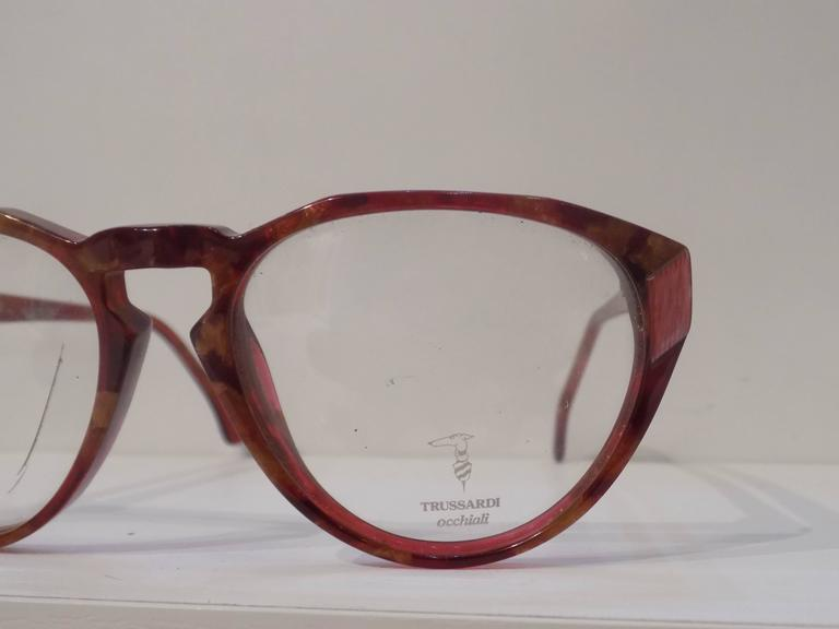 Gray 1990s Trussardi brown glasses frame For Sale