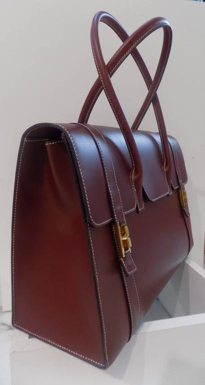 Hermes Bordeaux Leather Bag with gold hardware