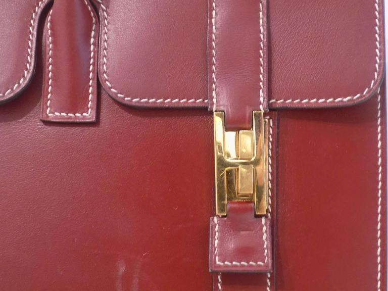 Black Hermes Bordeaux Leather Bag For Sale