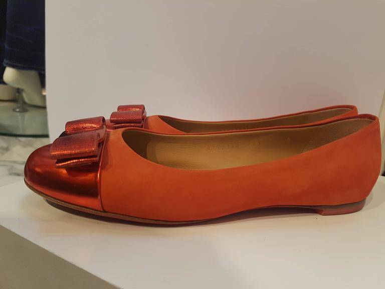 Brown Salvatore Ferragamo Red Ballerina For Sale
