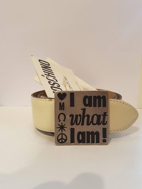"Moschino ""I am what I am"" cream leather belt italian size 40"