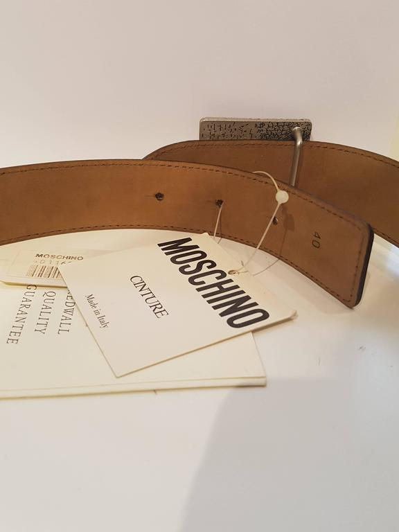 """Brown Moschino """"I am what I am"""" cream leather belt NWOT For Sale"""