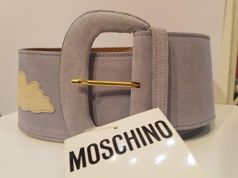 Moschino light blu white clouds NWOT belt