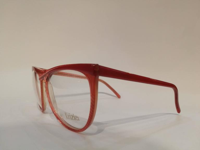 Gray Krizia vintage red frame glasses For Sale
