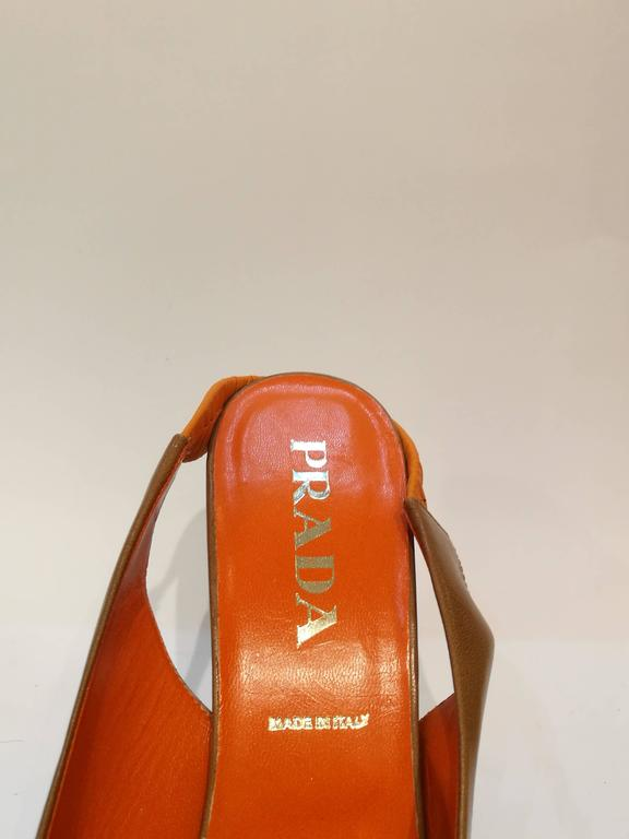 Prada brown leather decollete 4