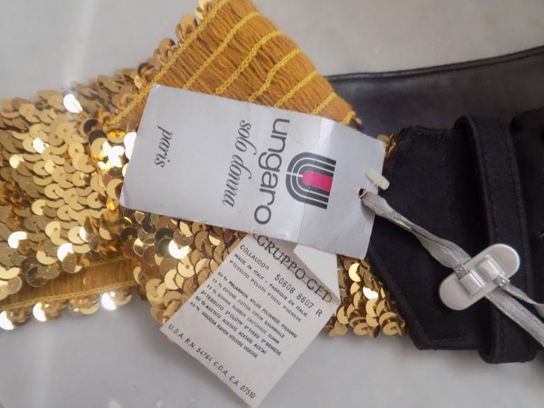 Emanuel Ungaro Black gold sequins belt 4