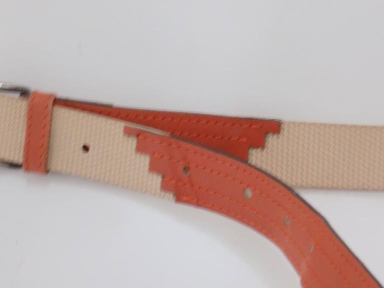 Gianni Versace beije orange belt In Good Condition For Sale In Capri, IT
