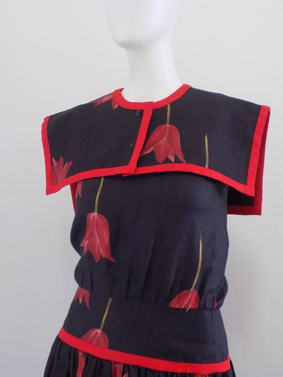 1980s Valentino Blu Red linen Dress 3
