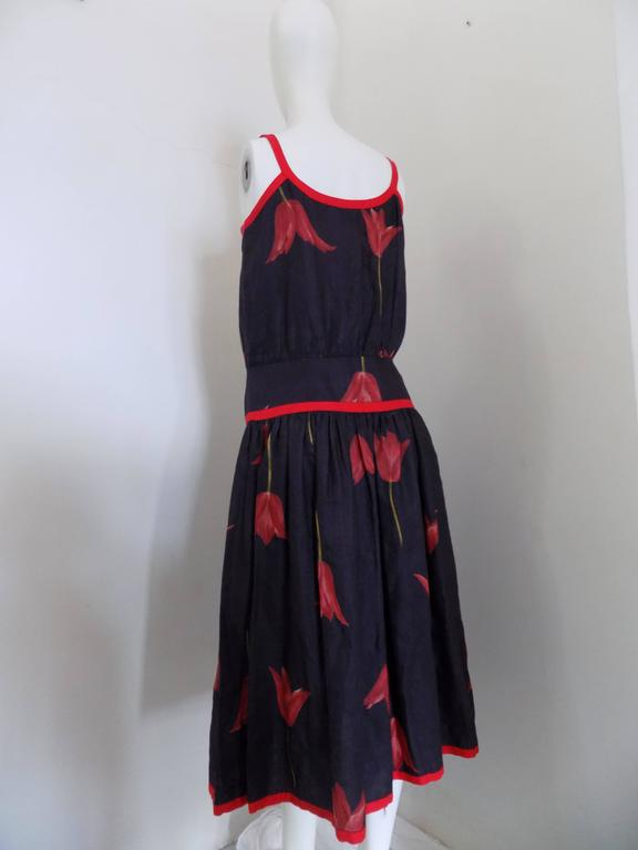 1980s Valentino Blu Red linen Dress 6