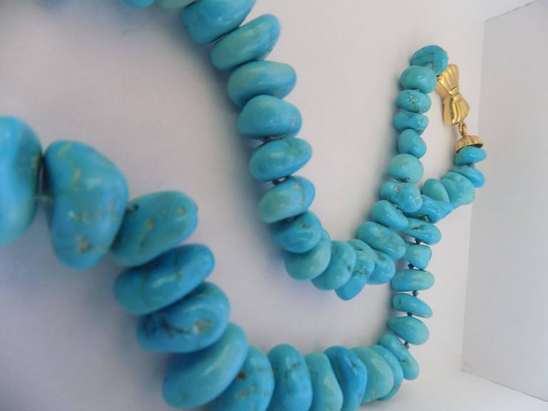 18kt Gold Turquoise Necklace In As New Condition For Sale In Capri, IT