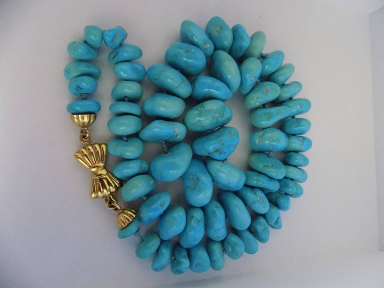 Women's 18kt Gold Turquoise Necklace For Sale
