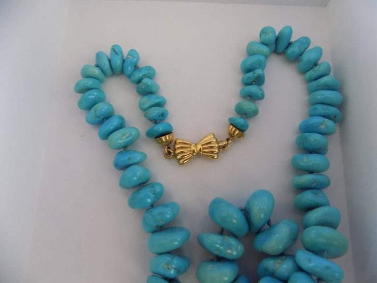 18kt Gold Turquoise Necklace For Sale 1