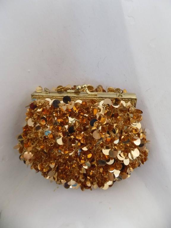 1980s Gold Sequins Shoulder Bag Shoulder Chain lenght 116 cm
