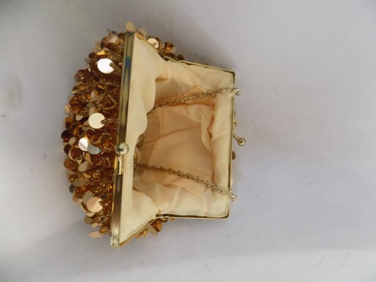 Brown 1980s Gold Sequins Shoulder Bag For Sale