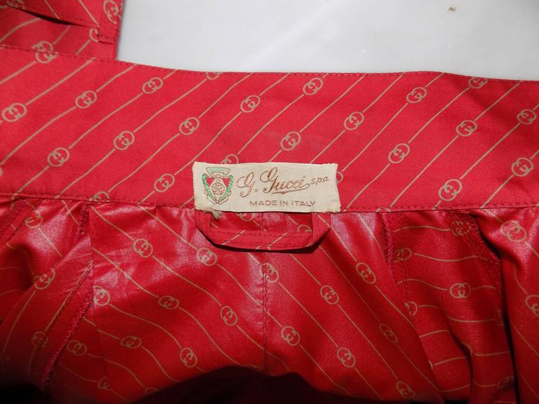 1950 Museum Piece G. Gucci Red Logo Chemisier For Sale 5
