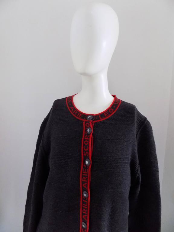 fendi grey red horoscope cardigan sweater at 1stdibs