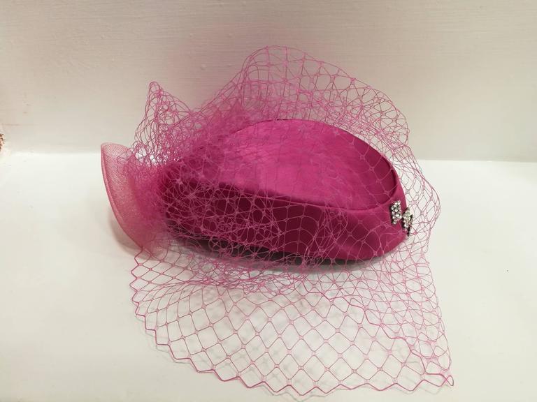 Women's Fascinator Fucsia Hat For Sale