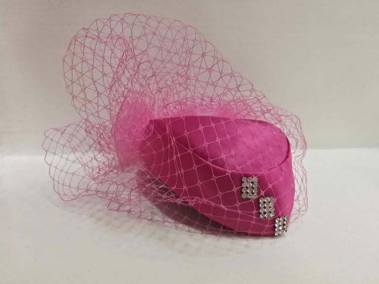 Fascinator Fucsia Hat For Sale 1