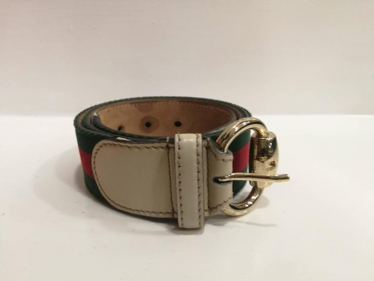 Gucci cream leather green and red textile belt