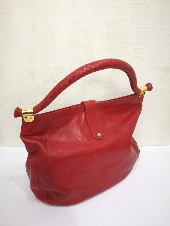 Jimmy Choo Red Leather Gold Hardware Hobo Shoulder Bag