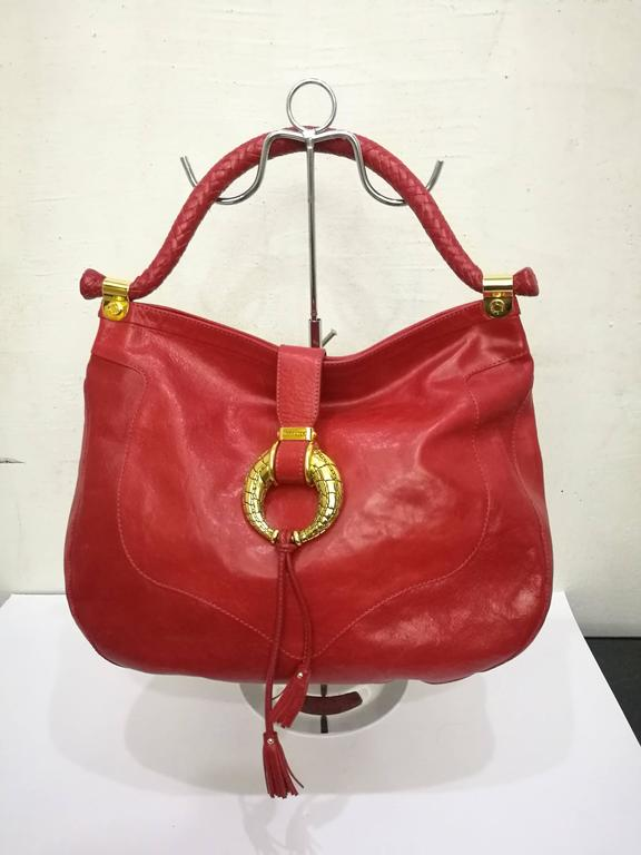 Women's Jimmy Choo Red Leather Gold Hardware Hobo Shoulder Bag For Sale