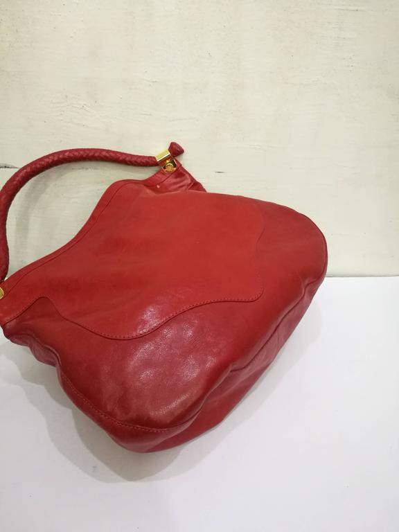 Jimmy Choo Red Leather Gold Hardware Hobo Shoulder Bag For Sale 1