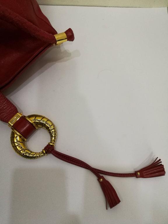 Jimmy Choo Red Leather Gold Hardware Hobo Shoulder Bag 6