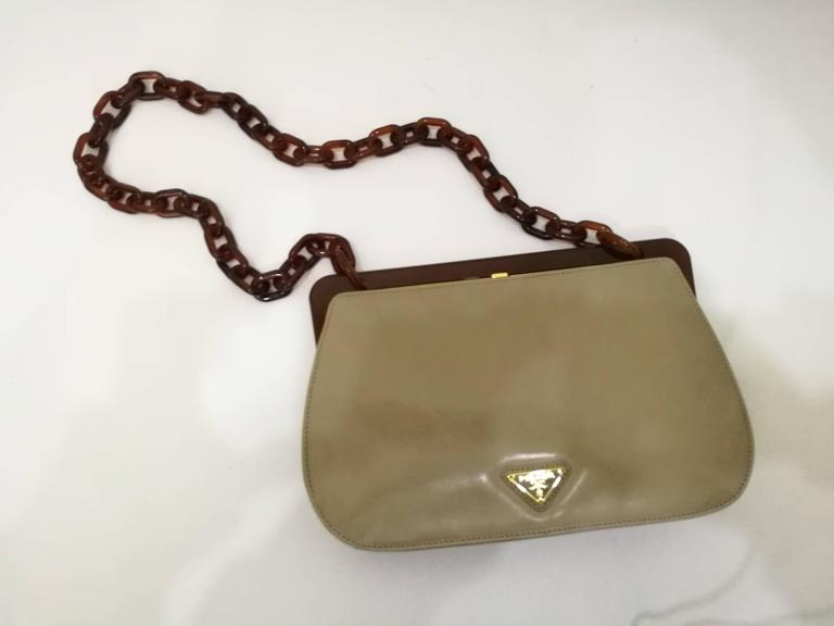 1970s Prada Taupe Baguelite Shoulder Bag In Good Condition For Sale In  Capri b866d8cd312ba