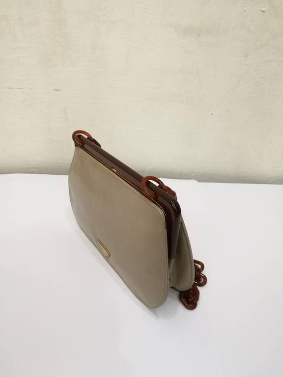 Brown 1970s Prada Taupe Baguelite Shoulder Bag For Sale e07dc08567c38