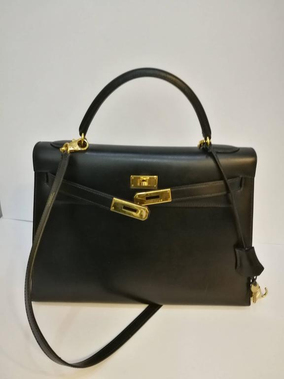 Hermes Black Leather Kelly In Good Condition For Sale In Capri, IT