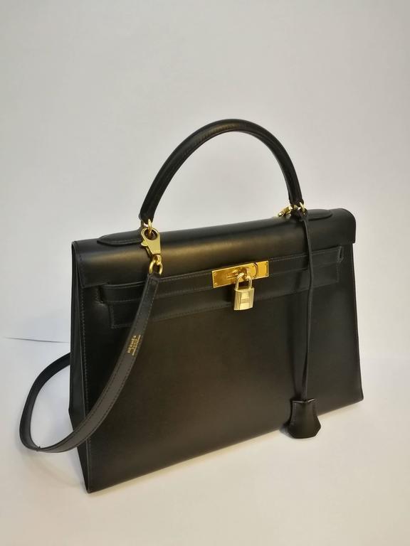 Hermes Black Leather Kelly For Sale 2