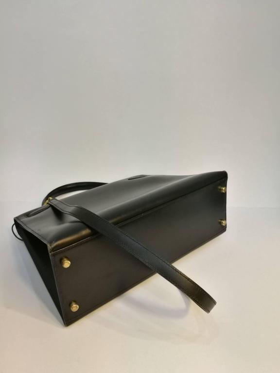 Hermes Black Leather Kelly For Sale 3