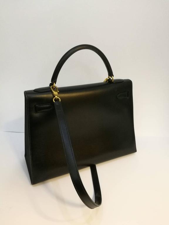 Hermes Black Leather Kelly For Sale 4